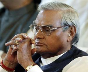 INDIAN FORMER PRIME MINISTER VAJPAYEE ATTENDS A SWEARING-IN CEREMONY IN NEW DELHI.